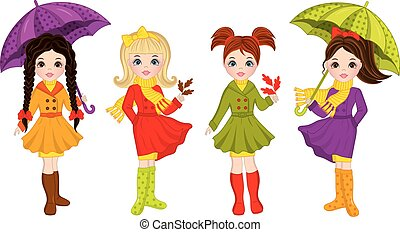 Vector Beautiful Autumn Girls with Umbrellas and Leaves