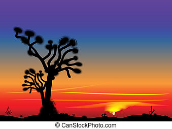 vector beautiful bright sunset in the desert