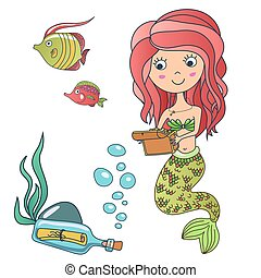Vector Beautiful cute little siren mermaid princess with fish, treasure chest and bottle with a note. Hand drawn illustration.
