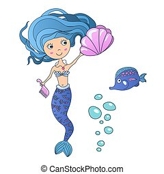 Vector Beautiful cute little siren mermaid with sea shell and tropic fish. Hand drawn illustration.