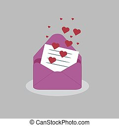 vector beautiful envelope of pink color with a letter of love