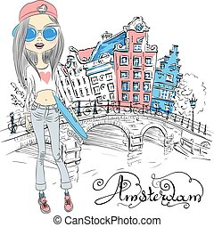 Vector beautiful fashion girl in Amsterdam - Fashionable...