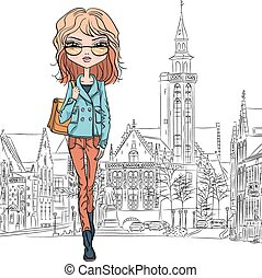Vector beautiful fashion girl in Bruges - Beautiful fashion...