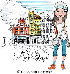 Vector beautiful fashion girl in Amsterdam - Fashionable...