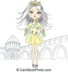Vector beautiful fashion girl princess - beautiful fashion...