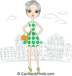 Vector beautiful fashion girl top model in the city -...