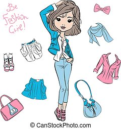 Vector beautiful fashion girl top models