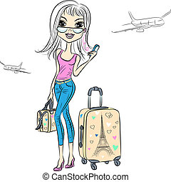 Vector beautiful fashion girl travels the world - Beautiful...