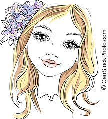Vector beautiful fashion girl with flower in hair