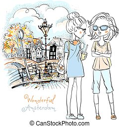 Vector beautiful fashion girls in Amsterdam