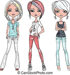 Vector beautiful fashion girls top models - Vector set...