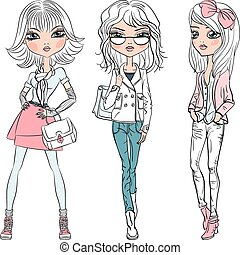 Vector set beautiful fashion hipster girls top models in jeans, glasses, shirt, boots with bags