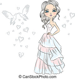 Vector Beautiful fashionable girl bride in her wedding dress