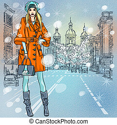 Vector beautiful fashionable girl on the avenue - Christmas ...