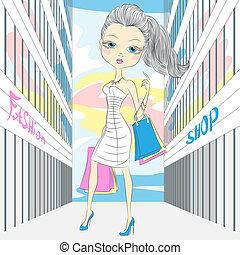 Vector beautiful fashionable girl shopping - beautiful...