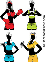Vector beautiful fitness girls