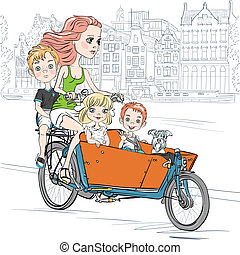 Vector beautiful girl carries child on the bike in Amsterdam...