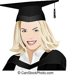 graduate - vector beautiful girl graduate