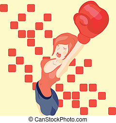 Vector beautiful girl in boxing gloves