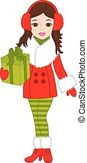 Vector Beautiful Girl with Christmas Gift Box