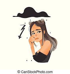 Vector beautiful girl with negative face emotion