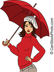 Vector beautiful girl with umbrella