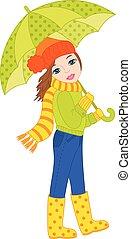 Vector Beautiful Girl with Umbrella