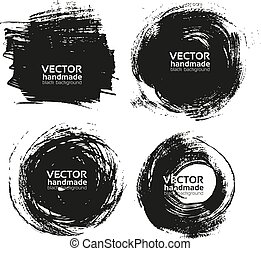 handmade black strokes- backgrounds - Vector beautiful...