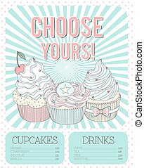 Vector beautiful poster in bright colors with delicios cupcakes.