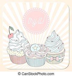 Vector beautiful poster in retro design with delicios cupcakes.