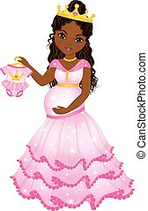 Vector Beautiful Pregnant African American Woman Dressed as ...