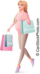 Vector beautiful pregnant woman walking with shopping bags and smiling.