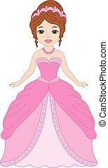 Vector Beautiful Princess in Pink Dress
