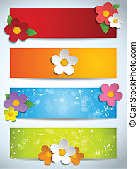 Beautiful Spring Flowers Set of Banners