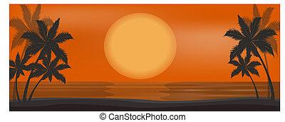 vector beautiful sunset on the beach sea or ocean