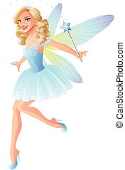 Vector beautiful tooth fairy in blue dress with magic wand.