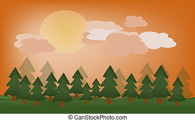 vector beautiful view of nature and forest at sunset or sunrise