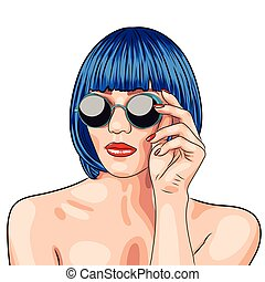 vector beautiful woman wearing blue wig and sunglasses