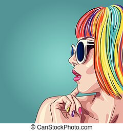 vector beautiful woman wearing colorful wig and white...