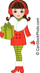 Vector Beautiful Young Girl with Christmas Gift
