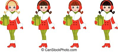 Vector Beautiful Young Girls with Sledges and Christmas Gifts