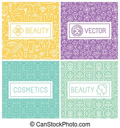 Vector beauty labels and logo design elements in trendy mono...