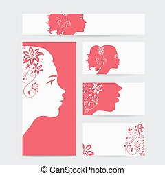 vector beauty salon card with woman wearing colorful wig