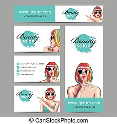 vector beauty salon cards with woman wearing colorful wig