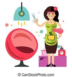 Vector Beauty Salon Concept. Hairdresser. Flat style colorful Cartoon illustration.