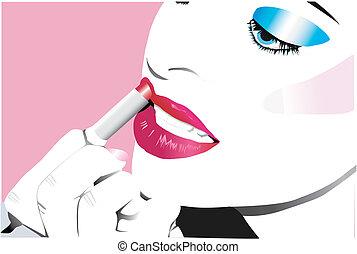 vector beauty - vector illustration of woman puttin on...
