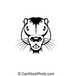 Vector beaver head, face for retro hipster logos, emblems, badges, labels template and t-shirt vintage design element. Isolated on white background