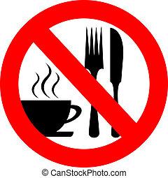 vector, bebida, señal, comer, no