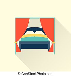 Vector bed icon FLAT