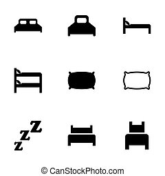 Vector bed icon set on white background